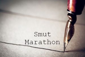 Logo for Smut Marathon, showing a fountain pen nib writing on parchment for the post, Realism