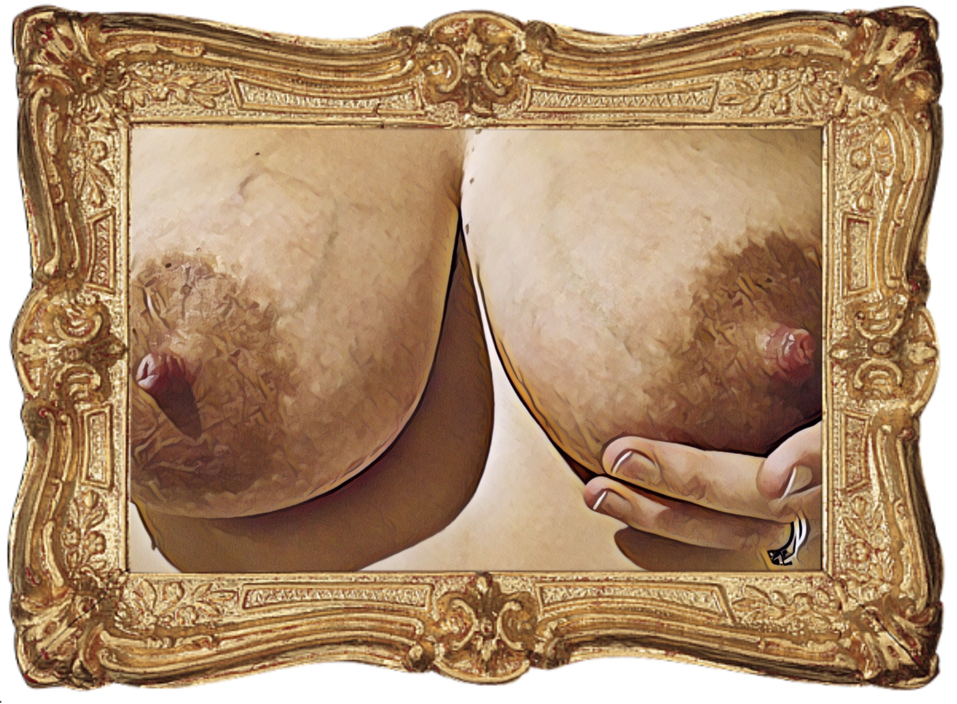 An image of my breasts with my left hand cupping my left breast, modified to look like it was painted as art and surrounded by a gold gilt frame