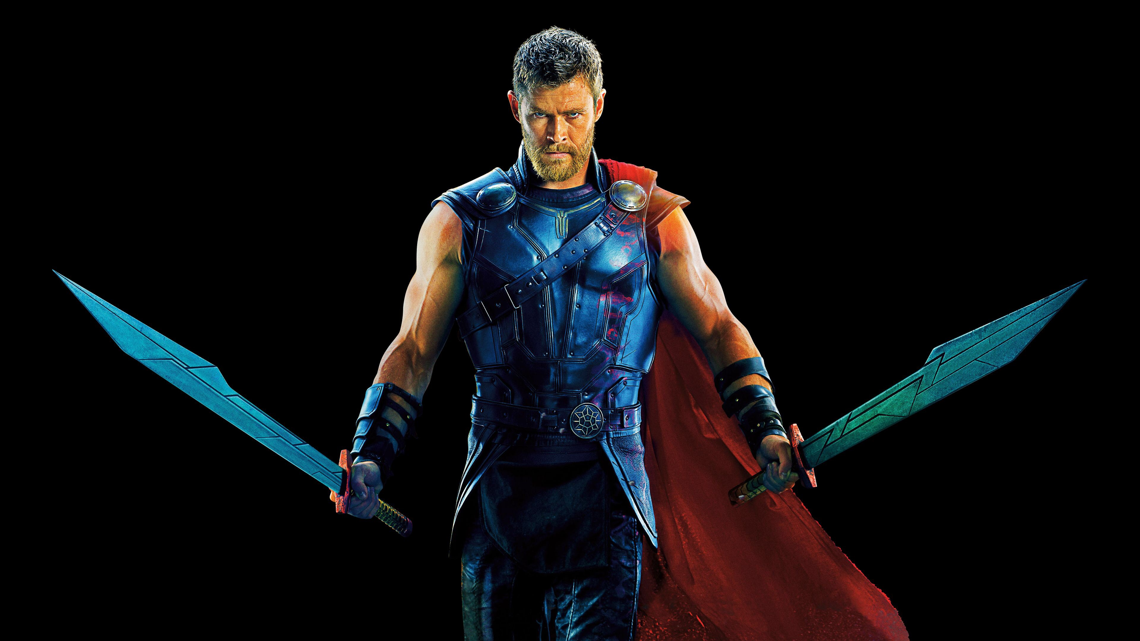 An image of Thor from Ragnarok walking forwards with two large swords