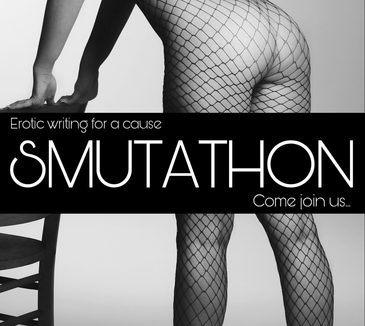 The Smutathon badge showing a woman's legs in fishnet tights bending over a chair