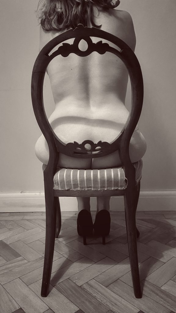 Take a seat - a photo of me sat, naked on a chair