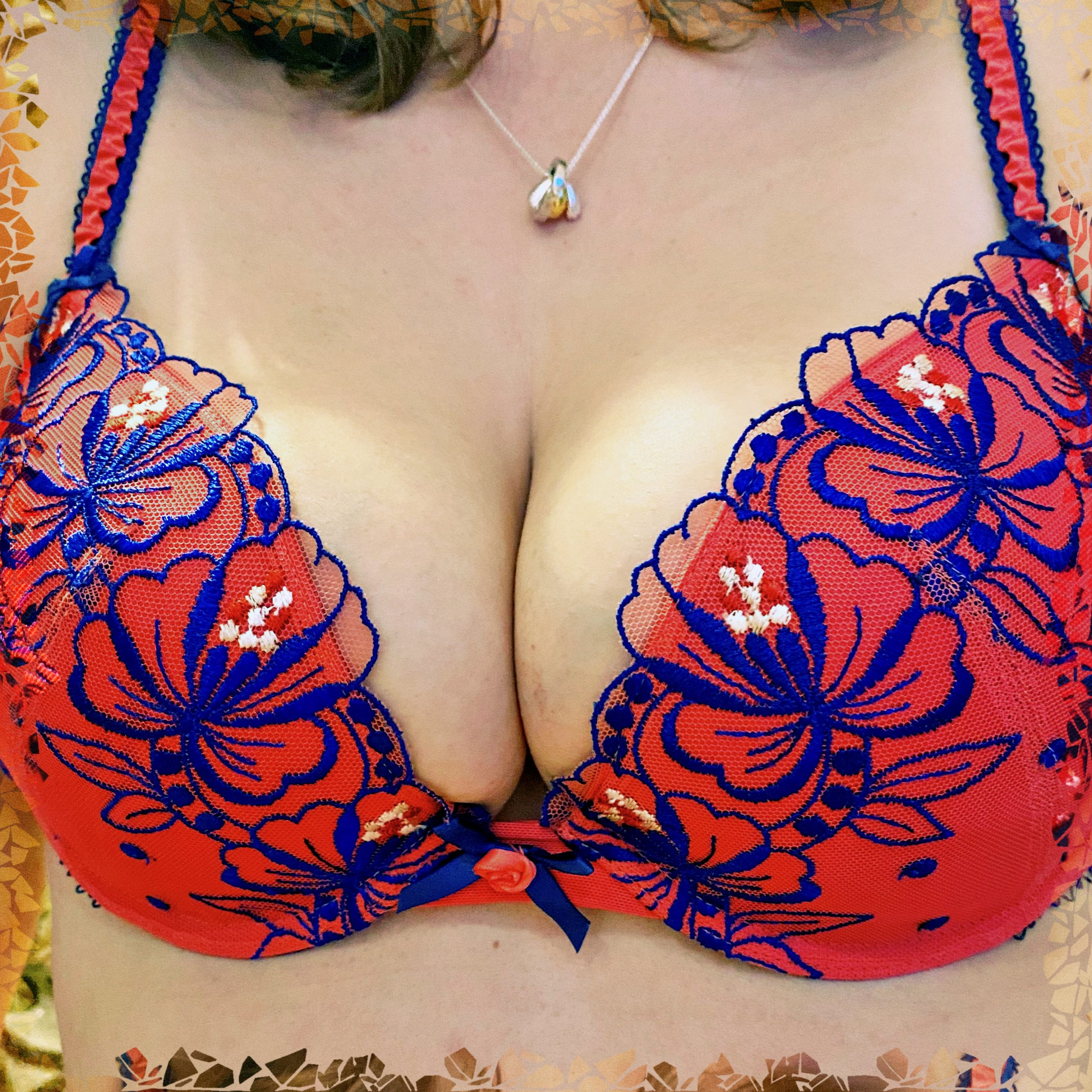 A photo of me wearing a bra that doesn't fit. It's a bit of a squeeze!