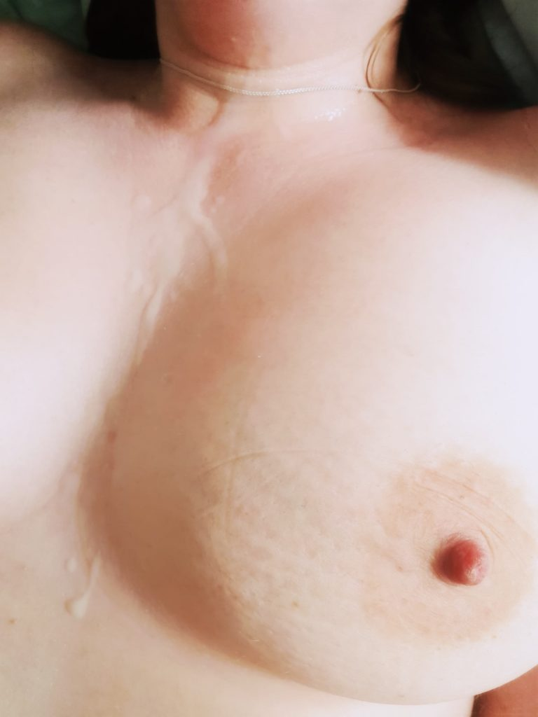 A photo of my breast covered in come that smells like elderflowers